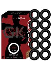 Cat Punch MUSCLE Cock RING Donut (キャットパンチ マッスルコックリング ドーナツ)ブラック 10個セット(個包装)/ブラック