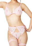 ChuChu Lingerie Collection セクシーブラ&パンティセット(S-030)ピンク/ピンク